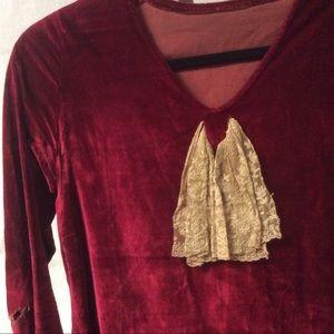 Vintage Dresses - Vtg. 1930 s Ruby Red Velvet Holiday Dress 43e962214